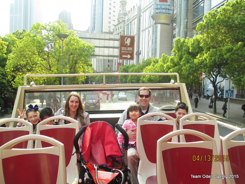 Big Bus Tour!  And yes, the unsecured stroller with the sleeping baby in it is perfectly safe.