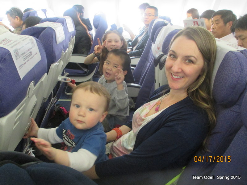 An idyllic family photo on the plane.  Reality was not so pretty.