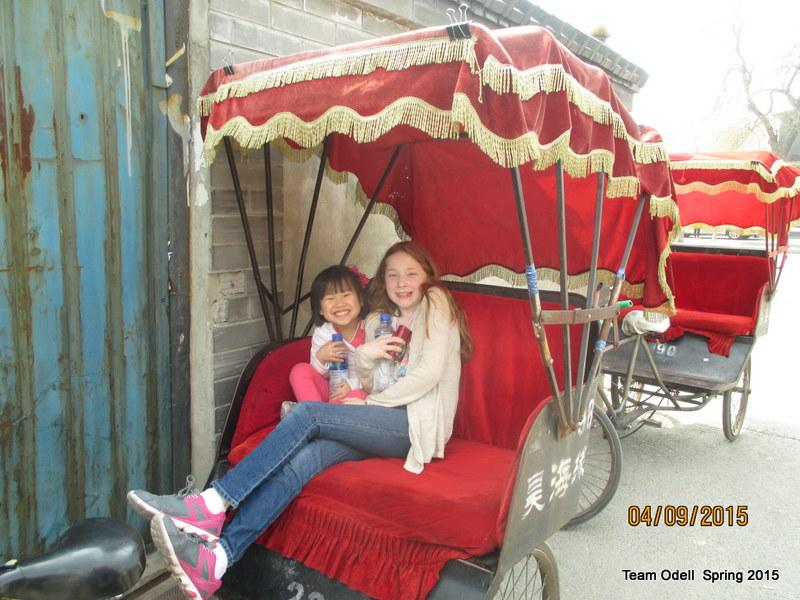 The girls enjoying the ride.