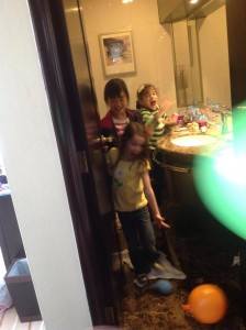 Who knew the bathroom could also be used for a crazy balloon game?
