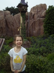 Rapunzel Tower.  See Flynn being pulled up behind Claire.